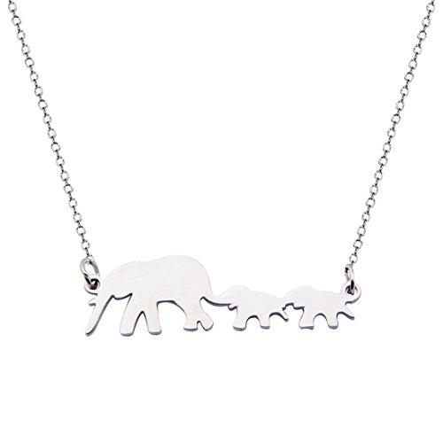 Collana portafortuna con elefantino e madre, acciaio inossidabile, colore: elephant necklace silver, cod. 9th-elephantnecklace