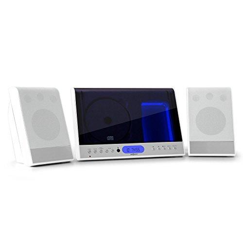 Oneconcept Vertical 90 - mini impianto stereo compatto verticale, USB MP3, display LCD, lettore CD MP3, AUX, VHF/FM, 20 stazioni, sleep-timer, telecomando, montaggio parete, bianco