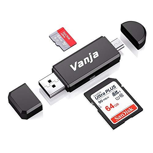 Vanja Lettore di Schede di Memoria SD/Micro SD, Adattatore Micro USB OTG e Lettore di Lchede USB 2.0 TF per con Computer/Android Smartphone/Tablet con OTG Funzione