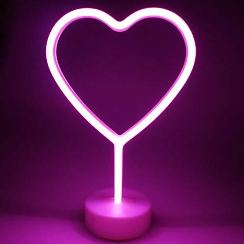 XIYUNTE cuore Neon Signs Luci notturne - cuore Luci notturne con piedistallo, Rose cuore Luci Decorazioni cameretta ragazzi, Luci notturne per bambini,Mood Lights, luce camera da letto