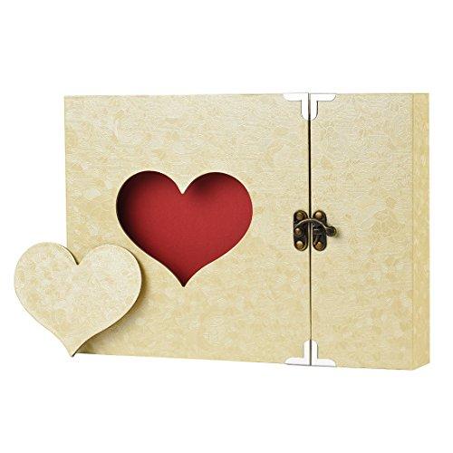 Firbon Album Foto, Scrapbook, Sticker Diario Creativo con Incisione a Forma di Cuore, Idea Regalo,Regalo della Festa della Mamma (Giallo)