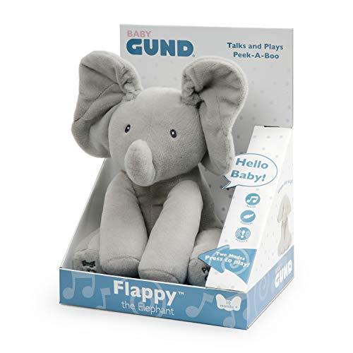 Gund Flappy Elefantino Peluche Interattivo Parlante, 30.5 cm,  Due Modalità di Gioco, da 10 Mesi