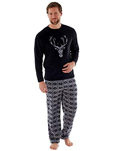 Harvey James–Pigiama in pile, girocollo, con motivo testa di cervo, in stile heritage, abbigliamento da casa Nero  XL