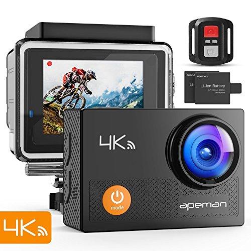 APEMAN 4K Action Cam Wi-Fi 20MP Ultra FHD Impermeabile 30M Immersione Sott'acqua Camera con Schermo 2 Pollici 170 Gradi Ampia Vista Grandangolare/ Telecomando 2.4G/ 20 Accessori all'Interno