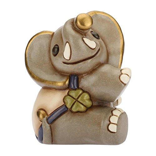 THUN - Elefantino Seduto Collezionabile con Quadrifoglio Portafortuna - Animali Soprammobile da Collezione - Ceramica - I Classici