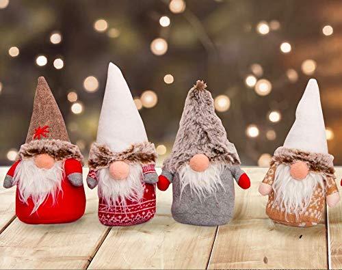Set da 4 Oppure 8 Simpatici Folletti di Natale. Decorazione Natalizia. Idea Regalo Natale. Gnomi Folletti scandinavi Altezza cm 20 (4 Folletti)