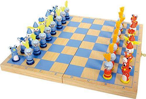 6084 Scacchi 'Cavaliere' small foot in legno, gioco da viaggio con 32 scacchi in stile cavalleresco in legno, dai 6 anni in poi