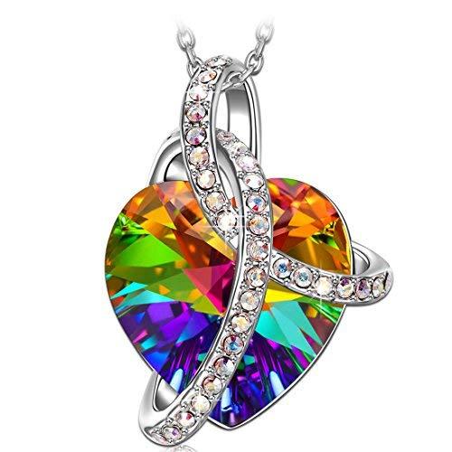 J.RENEÉ Regali Natale Amore Cuore Ciondolo Cuore, con colorato cristalli di Swarovski, a forma di cuore, gioielli donna, collana donna, collana cuore
