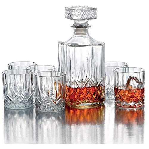 OPERA Set Whisky Bottiglia per Whisky e bicchieri, 7 Pezzi, Trasparente