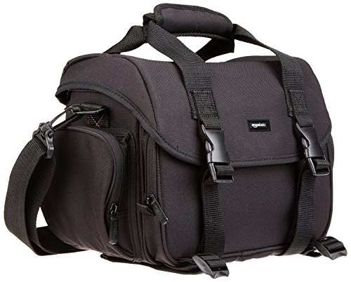 AmazonBasics - Borsa a tracolla grande per fotocamera e  accessori, Nero con interno grigio